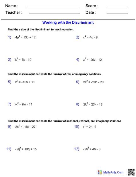 Algebra 2 Worksheets  Quadratic Functions And Inequalities Worksheets