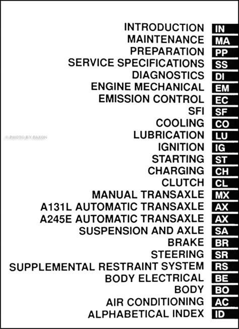 2000 toyota corolla repair shop manual original