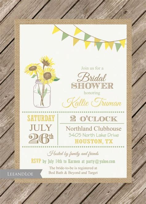 sunflower bridal shower invitation rustic burlap mason