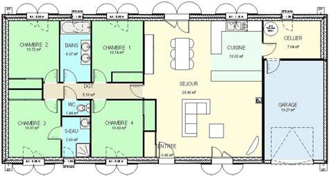 plan maison 4 chambres gratuit plan gratuit de maison plain pied 4 chambres avie home