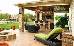 patio cover outdoor kitchen in pearland estates texas With outdoor kitchens and patios designs