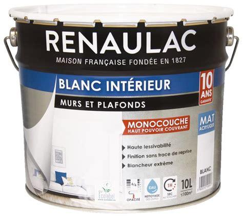 peinture blanche mate pour murs et plafonds 10 l renaulac brico d 233 p 244 t