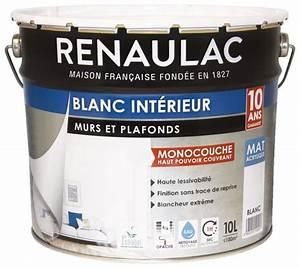 peinture blanche mate pour murs et plafonds 10 l brico depot With peinture blanche pour plafond