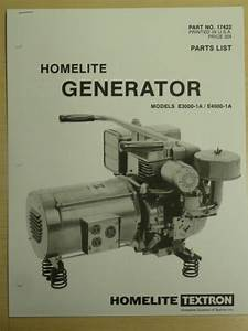 Homelite Generator Parts List Manual E3000  E4000
