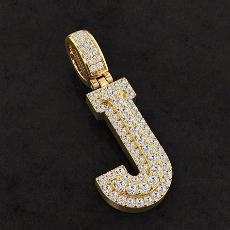 Diamond Custom 3D Initial J Letter Pendant | CGTrader
