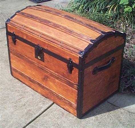 wood restored dome top humpback antique trunk