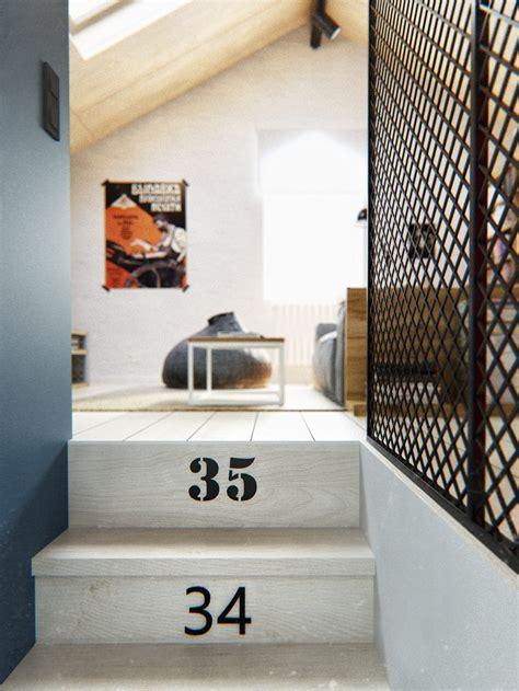 duplex penthouse  scandinavian aesthetics industrial elements