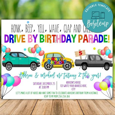 Printable Boy Twins Drive By Parade Birthday Invitation