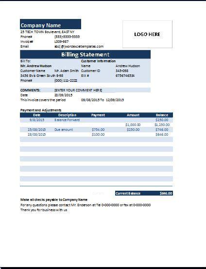 billing statement ms excel billing statement invoice word excel templates
