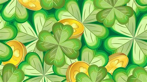 Download Wallpaper 1920x1080 Luck Clover Coin Pattern