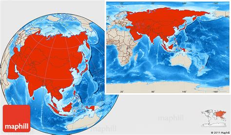 shaded relief location map  asia