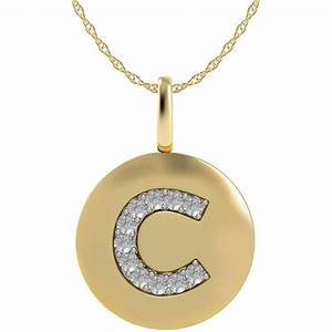 14k yellow gold letter c disk pendant with diamond accents With letter c necklace gold