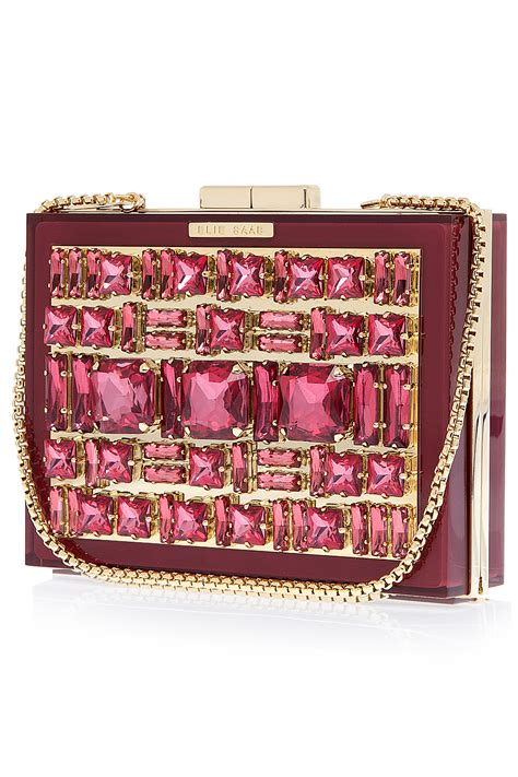 elie saab box crystal clutch bag  red lyst