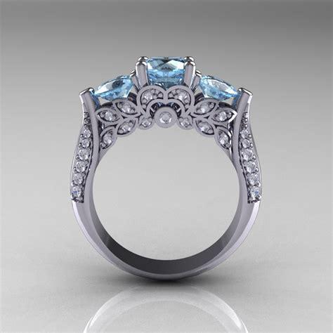 white gold  stone diamond aquamarine solitaire
