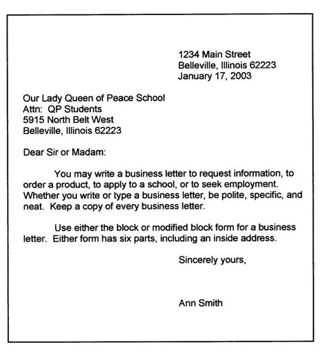 personal business letter format sample business letter