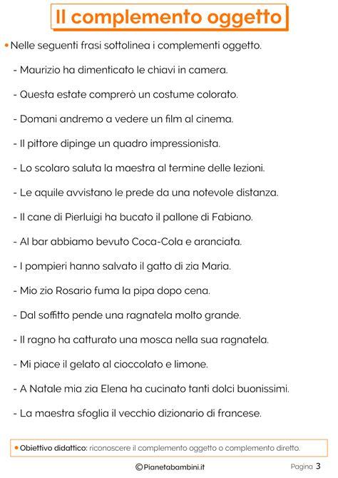 Frasi Con Complemento Oggetto Interno by Il Complemento Oggetto Esercizi Per La Scuola Primaria