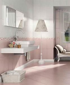 peinture salle de bains 24 idees de murs en deux couleurs With carrelage rose salle de bain
