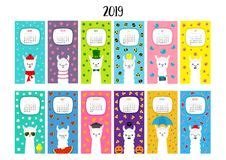 cat vertical monthly calendar cute funny cartoon animal insect