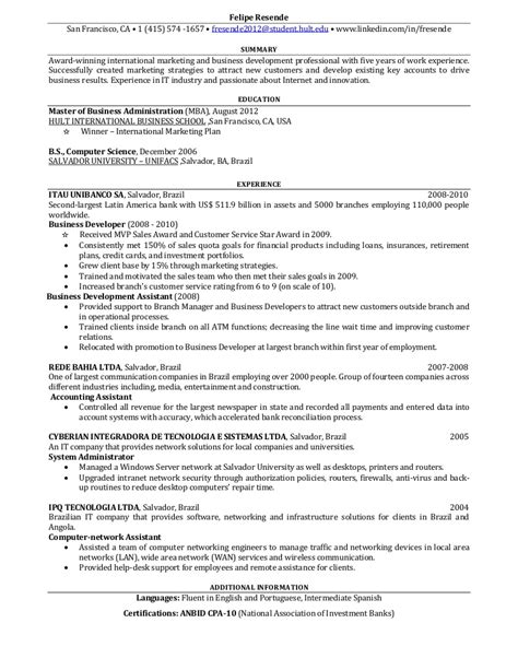 Resume For by One Page Resume For