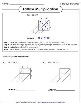 Lattice Method Of Multiplication Worksheets  Gialdini Worksheets