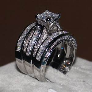 women princess cut 10ct diamonique cz white gold filled 3 With 3 ring set wedding rings