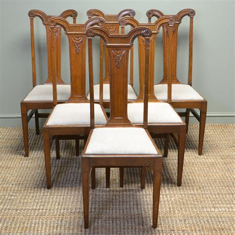 vintage oak dining chairs high quality set of six arts and crafts golden 6852