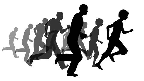 Animated Running Wallpaper - animated silhouette loop of running on a white