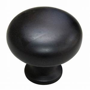 style selections 1 1 4 in matte black mushroom cabinet With cabinet door knobs at lowes