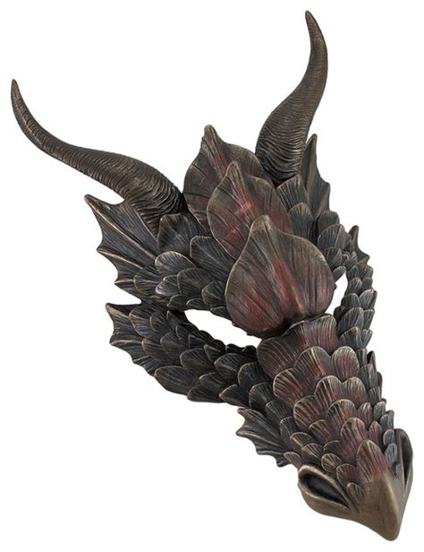 Metallic Bronze Finish Dragon Head Wall Mask Medieval Decor   Traditional   Wall Sculptures   by
