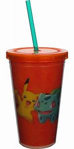 travel cup pokemon group 3d orng straw