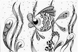 Fish Coloring Cute Pages Doodle Silver Zentangle Expression Doodles Drawing Adult Seascape Zendoodle Seaweed Poisson Tangle Kissy Zen Fishes Coloriage sketch template