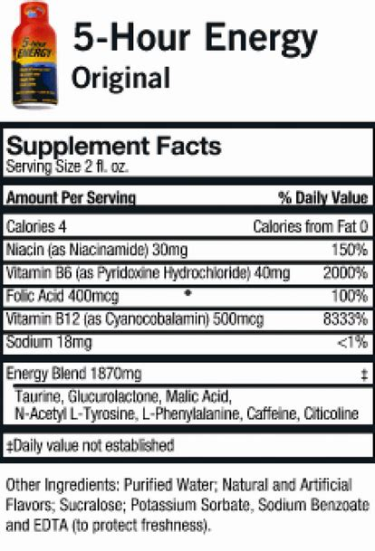 hour energy nutrition facts nutrition facts