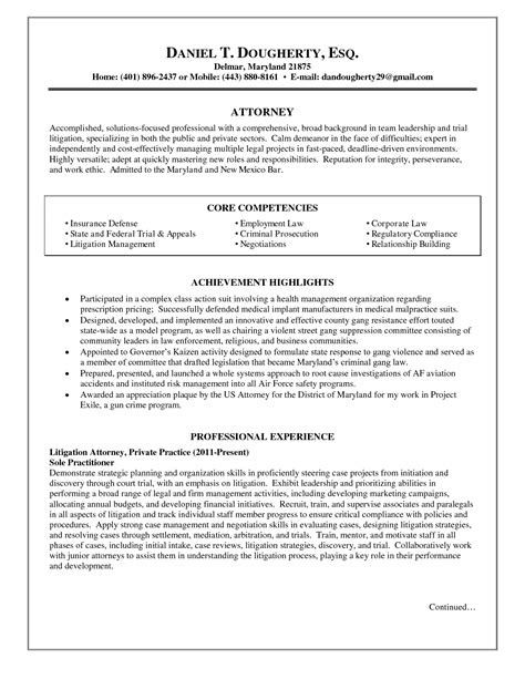 Personal Injury Attorney Resume Samples