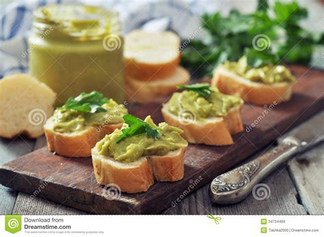 canape appetizer canapes of bread and guacamole stock image image 34734469