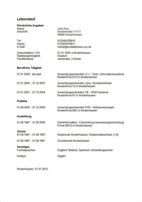 Bewerbung Lebenslauf Muster by Muster Lebenslauf Word Muster Lebenslauf F 252 R Selbstst 228 Ndige