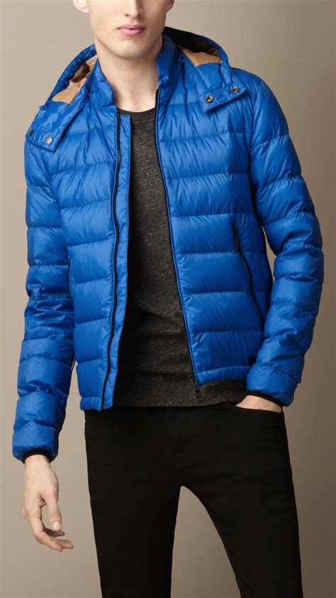 blue opal rings lyst burberry filled puffer jacket in blue for