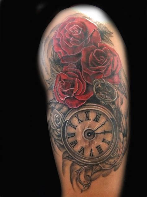 ideas  clock  rose tattoo  pinterest  tattoos pocket  tattoos