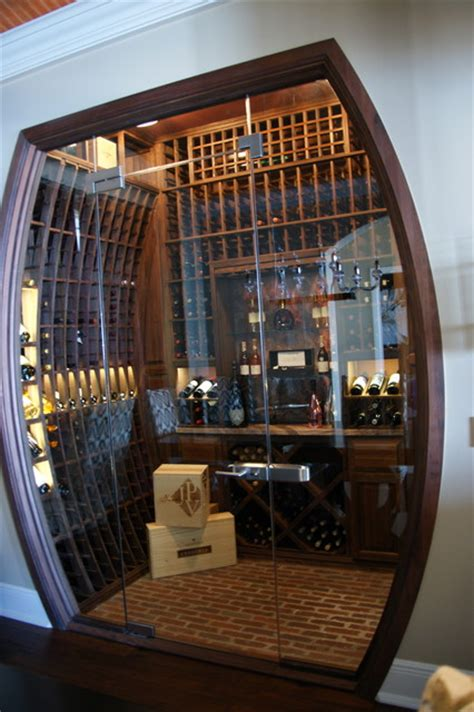glass enclosed concave wine cellar traditional wine