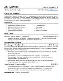 retail store executive resume retail manager resume exle department store