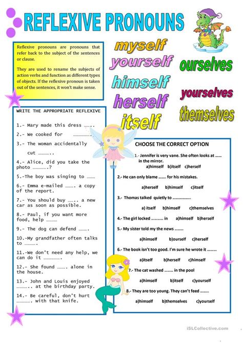 reflexive pronouns worksheet free esl printable worksheets made by teachers