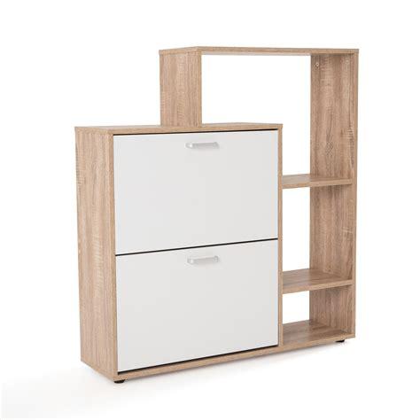 conforama meubles cuisine meuble à chaussure mdf chêne blanc avec porte abattante