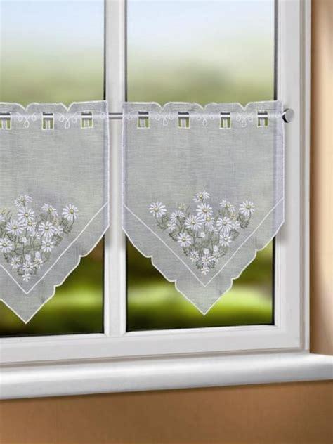 Scheibengardinen Für Große Fenster by Mit Margeriten Besticktes Scheibengardinen Paar F 252 R Den