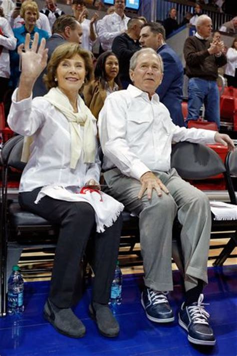 president george  bush visits smu mustangs