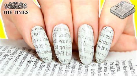newspaper nails hacks newspaper print nail art