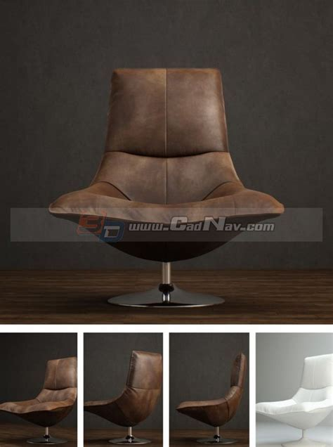 Antique Leather Tulip Chair 3d model 3DMax files free