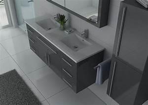 Meuble Vasque Double : meuble de salle de bain gris double vasque meuble de salle de bain gris dis749gt ~ Teatrodelosmanantiales.com Idées de Décoration