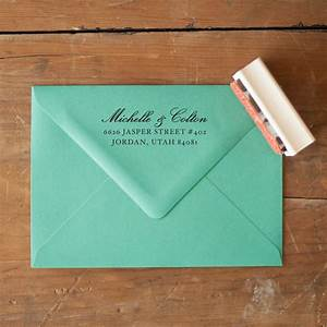 Custom return address stamp wedding invitation stamp rustic for Wedding invitations return address wording