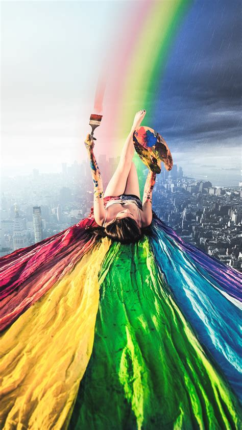paint rainbow girl wallpapers hd wallpapers id