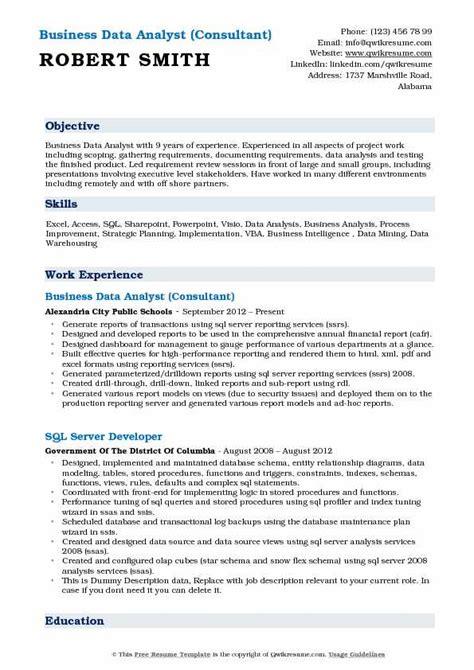 Data Analytics Consultant Resume by Business Data Analyst Resume Sles Qwikresume