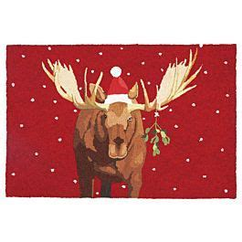 Christmas Rug   Moostletoe Christmas Moose by Scott Church